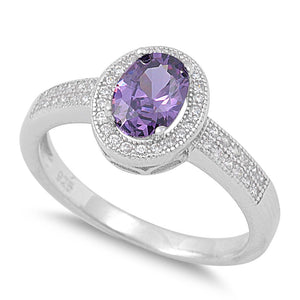 Sterling Silver Amethyst CZ Oval Halo Ring