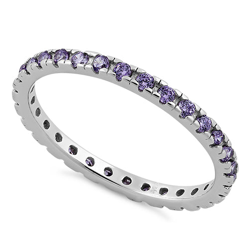 Sterling Silver Amethyst Eternity CZ Ring