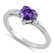 Load image into Gallery viewer, Sterling Silver Amethyst Heart CZ Ring