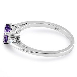 Sterling Silver Amethyst Heart CZ Ring