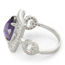 Load image into Gallery viewer, Sterling Silver Amethyst Oval Framed CZ Ring