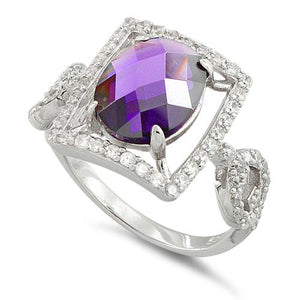 Sterling Silver Amethyst Oval Framed CZ Ring