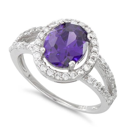 Sterling Silver Amethyst Oval Halo CZ Ring