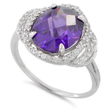 Load image into Gallery viewer, Sterling Silver Amethyst Oval Halo CZ Ring
