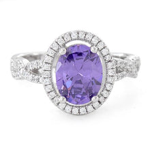 Load image into Gallery viewer, Sterling Silver Amethyst Oval Wave CZ Ring