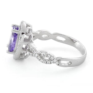 Sterling Silver Amethyst Oval Wave CZ Ring
