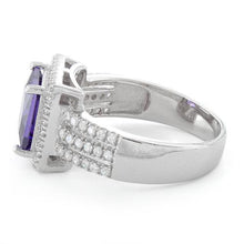Load image into Gallery viewer, Sterling Silver Amethyst Princess Cut CZ Ring