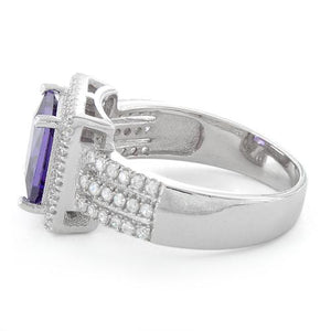 Sterling Silver Amethyst Princess Cut CZ Ring