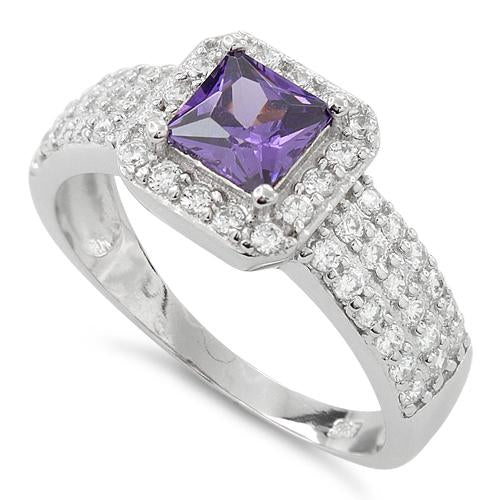 Sterling Silver Amethyst Princess Cut Pave CZ Ring