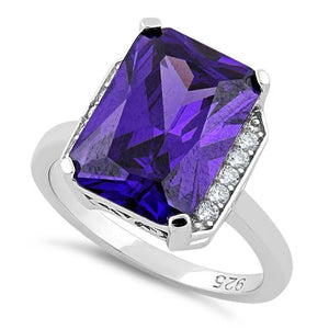 Sterling Silver Amethyst Radiant Cut CZ Ring