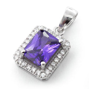 Sterling Silver Amethyst Rectangular CZ Pendant