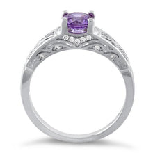 Load image into Gallery viewer, Sterling Silver Amethyst Round Cut Engagement Ring