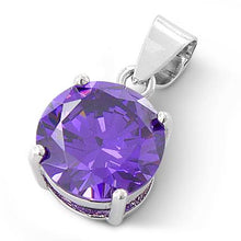 Load image into Gallery viewer, Sterling Silver Amethyst Round CZ 10mm Pendant