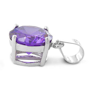 Sterling Silver Amethyst Round CZ 10mm Pendant