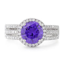 Load image into Gallery viewer, Sterling Silver Amethyst Round CZ Ring