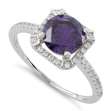 Load image into Gallery viewer, Sterling Silver Amethyst Round Halo Pave CZ Ring
