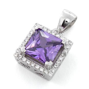 Sterling Silver Amethyst Square CZ Pendant