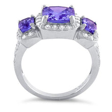 Load image into Gallery viewer, Sterling Silver Amethyst Three Stone Halo CZ Ring