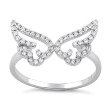 Load image into Gallery viewer, Sterling Silver Angel Wings CZ Ring