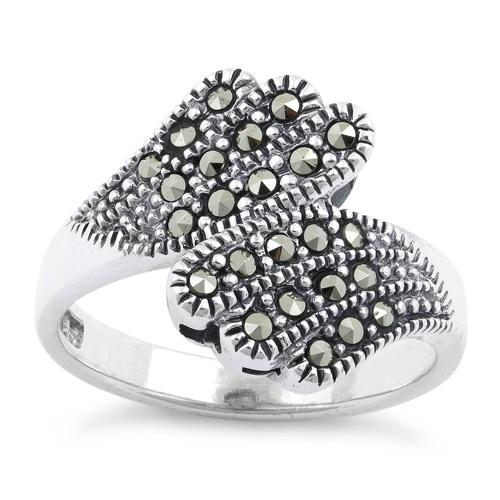Sterling Silver Angel Wings Marcasite Ring