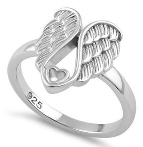 Sterling Silver Angel Wings with Heart Ring