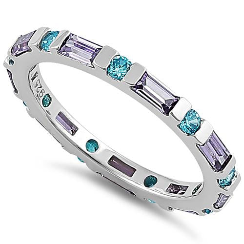 Sterling Silver Aqua Blue & Amethyst Eternity CZ Ring
