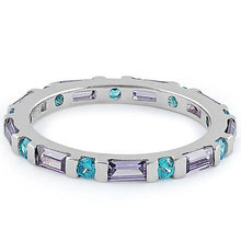 Load image into Gallery viewer, Sterling Silver Aqua Blue & Amethyst Eternity CZ Ring