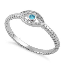 Load image into Gallery viewer, Sterling Silver Aqua Blue Stone Evil Eye CZ Ring