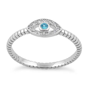 Sterling Silver Aqua Blue Stone Evil Eye CZ Ring