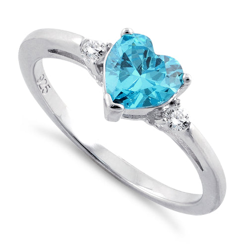 Sterling Silver Aqua Heart CZ Ring