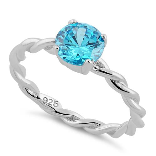 Sterling Silver Aqua Twisted Band CZ Ring