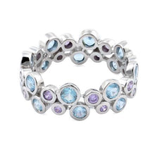 Load image into Gallery viewer, Sterling Silver Aquamarine & Amethyst Elegant CZ Ring