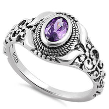 Load image into Gallery viewer, Sterling Silver Austere Oval Cut Amethyst CZ Ring