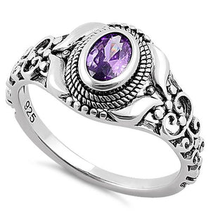 Sterling Silver Austere Oval Cut Amethyst CZ Ring