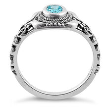 Load image into Gallery viewer, Sterling Silver Austere Oval Cut Aqua Blue CZ Ring