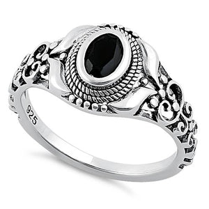 Sterling Silver Austere Oval Cut Black CZ Ring