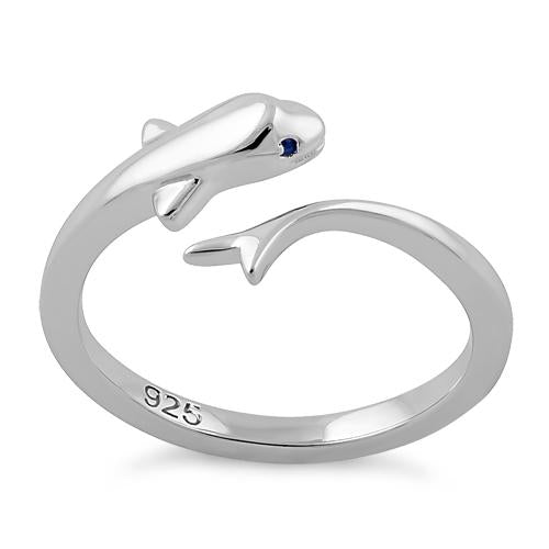 Sterling Silver Baby Dolphin Blue CZ Ring