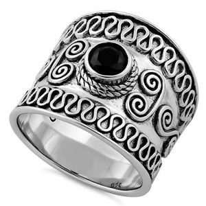 Sterling Silver Bali Swirl Black CZ Ring