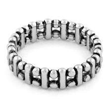 Load image into Gallery viewer, Sterling Silver Bead & Bar Stackable Ring