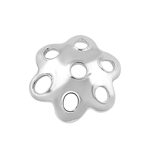 Sterling Silver Bead Cap Perforated Flower 6mm - PACK OF 25