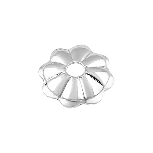 Sterling Silver Bead Flower Cap 4mm - PACK OF 12
