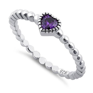 Sterling Silver Beaded Amethyst Heart CZ Ring