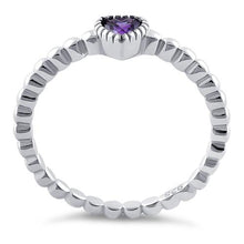 Load image into Gallery viewer, Sterling Silver Beaded Amethyst Heart CZ Ring