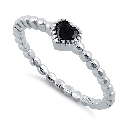 Sterling Silver Beaded Black Heart CZ Ring