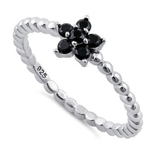 Load image into Gallery viewer, Sterling Silver Beaded Black Plumeria Flower CZ Ring