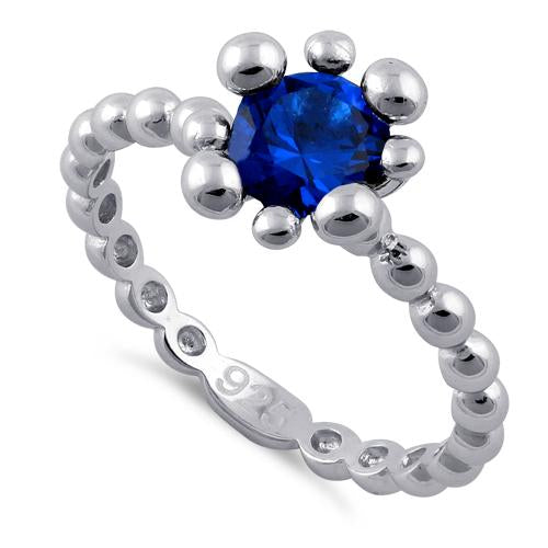 Sterling Silver Beaded Blue Spinel Round CZ Ring