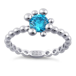 Sterling Silver Beaded Blue Topaz Round CZ Ring
