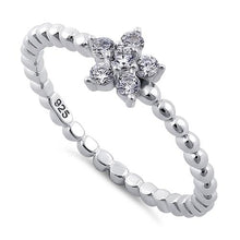 Load image into Gallery viewer, Sterling Silver Beaded Clear Plumeria Flower CZ Ring