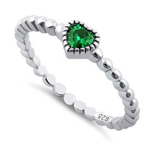 Load image into Gallery viewer, Sterling Silver Beaded Emerald Heart CZ Ring