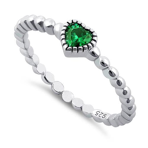 Sterling Silver Beaded Emerald Heart CZ Ring